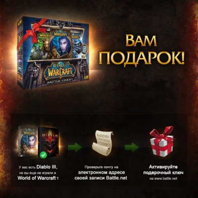 Отдам ключ WoW BattleChest + 30дей за 100р