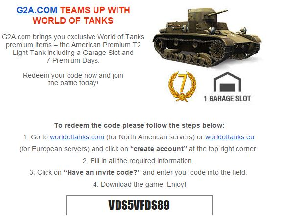 World of Tanks premium items – the American Premium T2 Light Tank including a Garage Slot and 7 Premium Days.