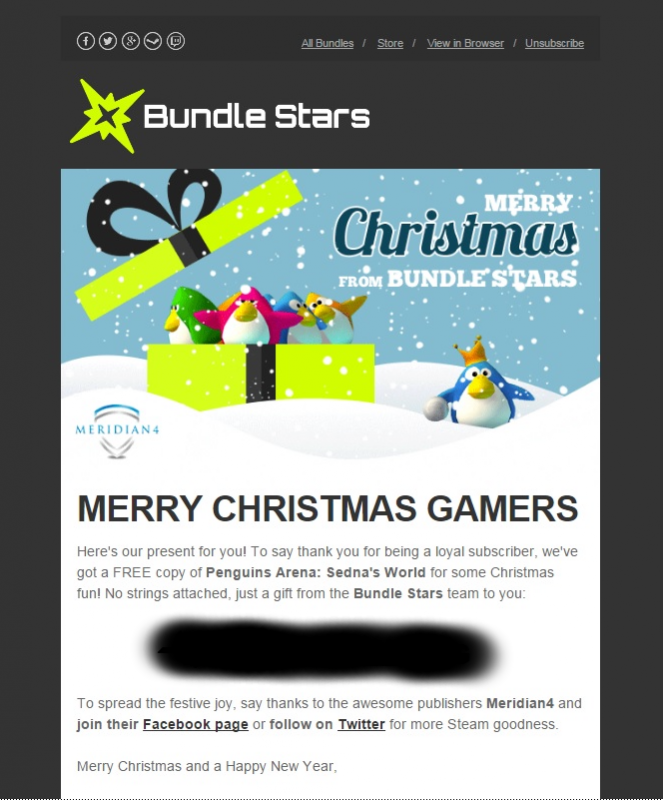 Merry Christmas! Here's a FREE Steam key from Bundle Stars!