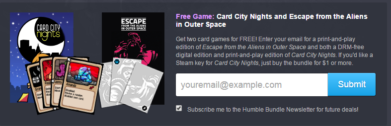 Free Game: Card City Nights and Escape from the Aliens in Outer Space