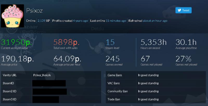 Примерная цена аккаунта Steam
